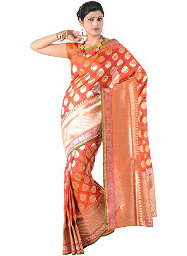 IndusDiva Women's Orange Pure Silk Saree