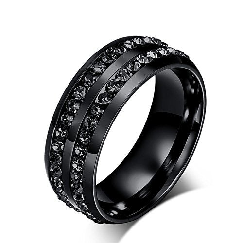 YUUHII ATR Mens Black Diamond-Studded Titanium Ring Individuality Especially Jewelry Rings Size 6-13