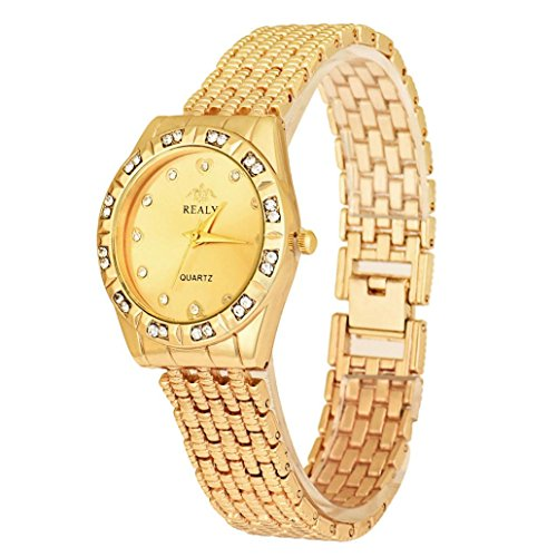 Alonea Fashion Stainless Steel Ladies Women Crystal Analog Quartz Wrist Watch (Gold)