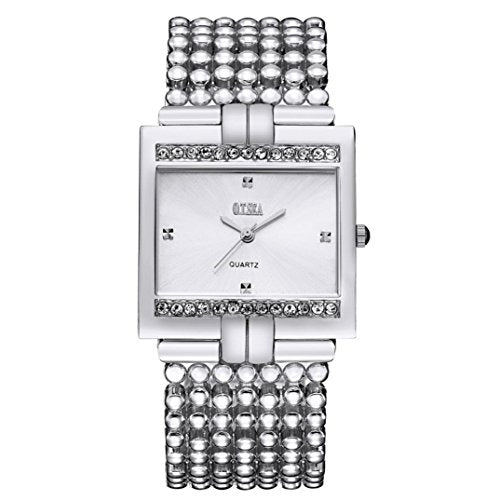 Alonea Women's Stainless Steel Quartz Watch Rhinestone Crystal Analog Wrist Watch (Silver)