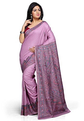 Utsav Fashion Light Purple Pure Tussar Silk Handloom Saree with Blouse