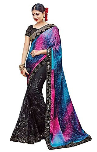 INMONARCH Womens Black Satin Silk Partywear Saree SKI3611 unstitched