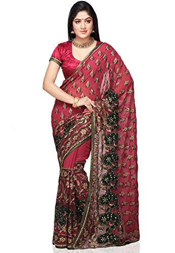 Utsav Fashion Old Rose Faux Shimmer Georgette and Net Saree with Blouse