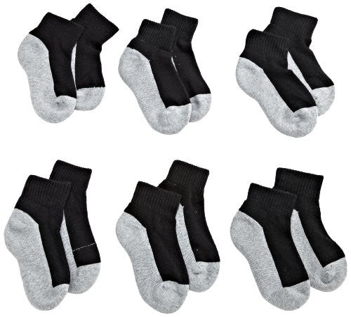 Jefferies Socks Little Boys' Seamless Sport Quarter Half Cushion  Socks (Pack of 6), Black/Grey, 8-9.5 sock size/12-6 shoe size