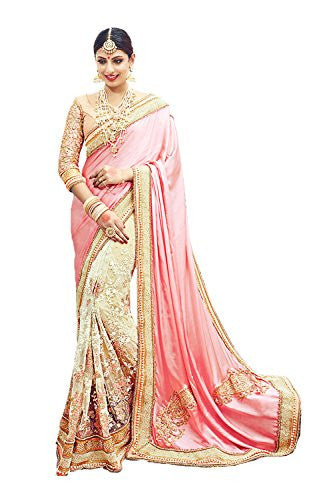 Indian Fashion Fine-looking Embroidered Pallu Saree in Pink Color 77643