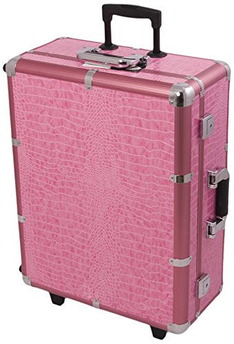 Craft Accents Professional Rolling Studio Makeup Case, Pink Crocodile, 672 Ounce