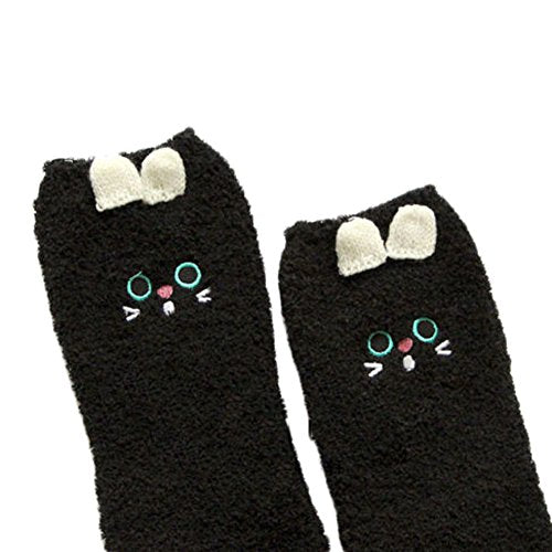 Women Cute Animal Bed Socks Pure Fluffy Thick Warm Winter Soft Floor Home Foot Clothing (Black Cat)