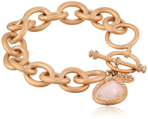 "Freida Rothman ""Links"" Collection Rose Quartz Teardrop Heavy Links Bracelet"