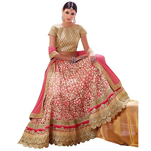 Shree Designer Sarees Women's Lovely Hot Pink Georgette Designer Lehenga Choli