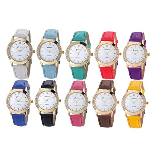 WILLTOO 10 Pack Women Rhinstone Inlaid Analog Quartz Dress Wrist Watch