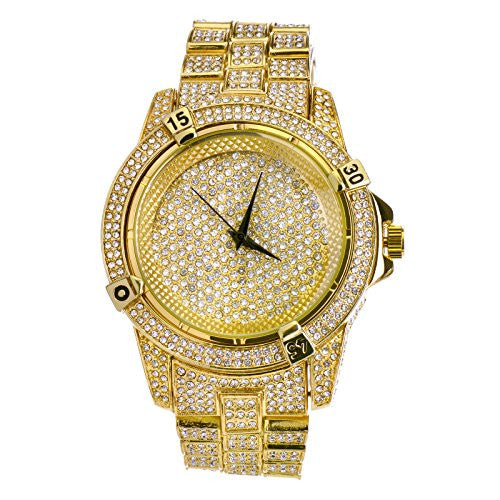 Mens Hip Hop Luxury Iced Out Techno Pave Watch Gold Tone Heavy Bezel Case Band Simulated Diamond WM 7754 G