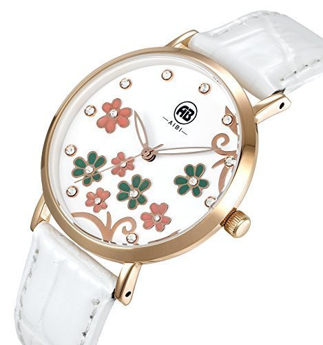 AIBI Women's Watch Quartz White Leather Strap Waterproof Watches For Lady,36mm Flowers Crystal Case