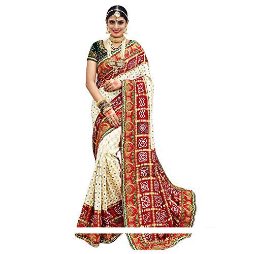 Shree Designer Sarees Women's Heavenly Off White Banarasi Silk Designer Saree
