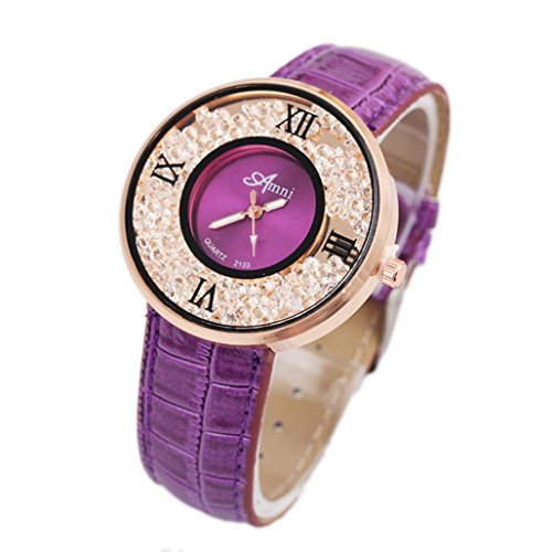 START Women Serpentine Pattern Quicksand Wrist Watch- Purple