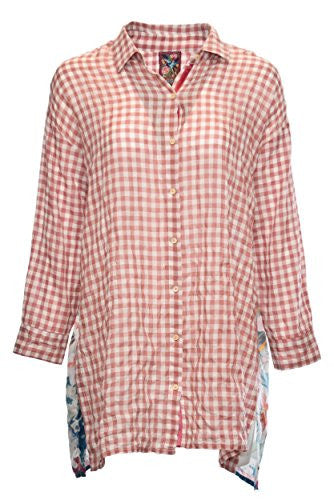 3J Workshop by Johnny Was Plaid Preiwinkle Scarf Back Shirt (Small)