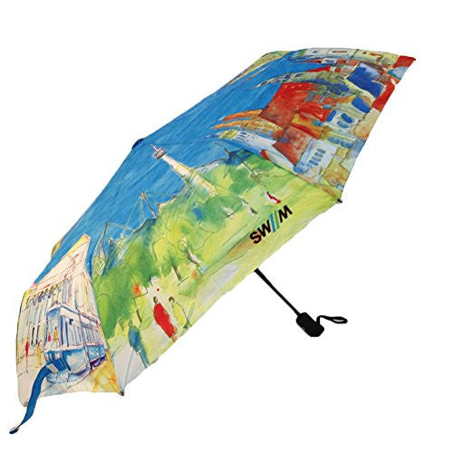 Auto Open and Close triple-folding umbrella eight countries painting canopy compact travel tote collapsible parasol