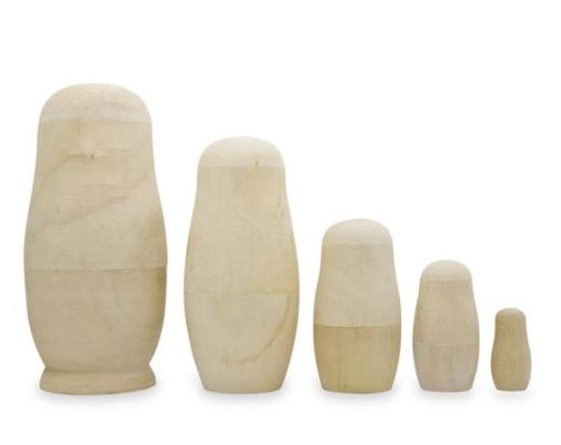 5pcs/set Unpainted DIY Blank Wooden Russian Nesting Dolls