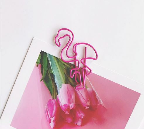 FLAMINGO SHAPED PAPER CLIPS - 12/PK