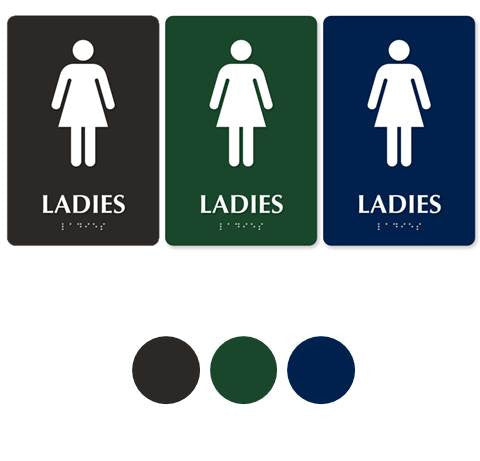 LADIES'S RESTROOM 9in. x 6in. TactileTouch™ Braille Sign