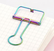 IRIDESCENT HOLLOWED OUT BINDER CLIPS - 2/PK