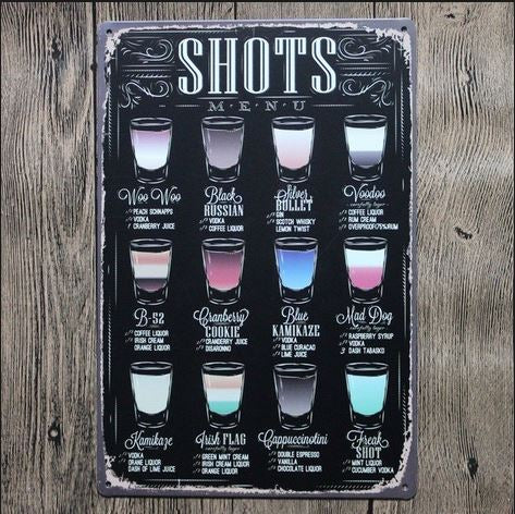 Nostalgic Shots Menu Tin Sign  12x18