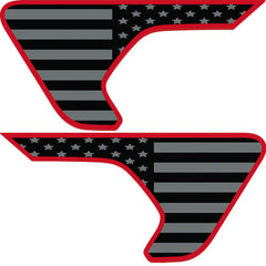 Blackout Red Outline Flag 2pc Vinyl Fender Vent Decal