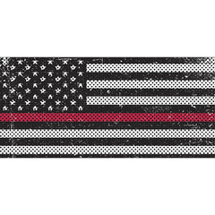 Distressed Black & White Thin Red Line