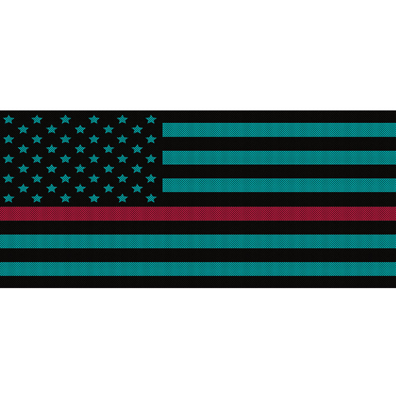 Black & Light Blue Thin Red Line