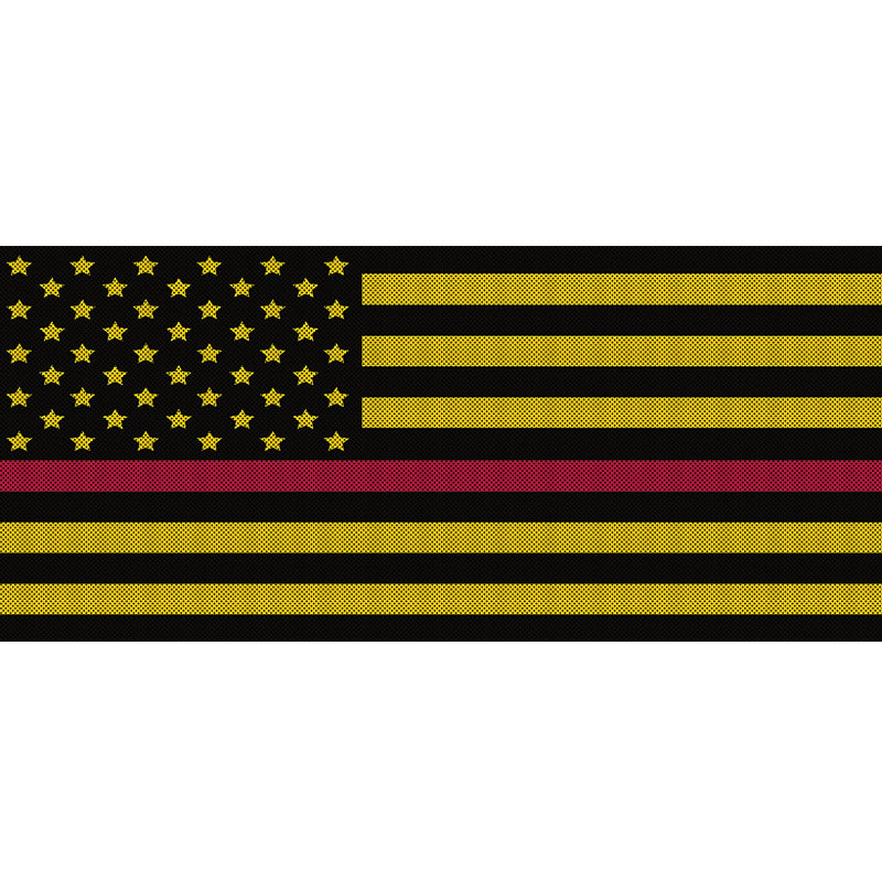 Black & Yellow Thin Red Line
