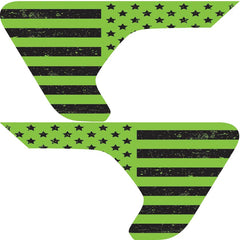 Distressed Lime Green Flag 2pc Vinyl Fender Vent Decal
