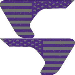 Distressed Purple and Silver Flag 2pc Vinyl Fender Vent Decal