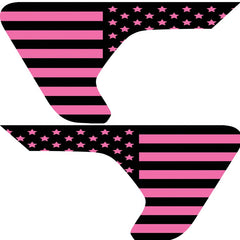 Pink Old Glory Flag 2pc Vinyl Fender Vent Decal