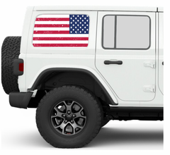 Distressed Old Glory JKU/JLU Side Windows Printed Vinyl