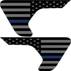Thin Blue Line American Flag 2pc Vinyl Fender Vent Decal