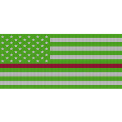 White & Green Thin Red Line