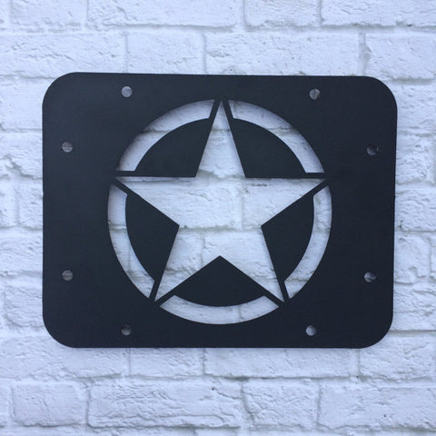 Army Star Jeep Wrangler tire delete plate panel vent cover.