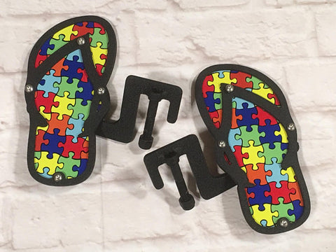 Autism Awareness Flip Flop design foot pegs