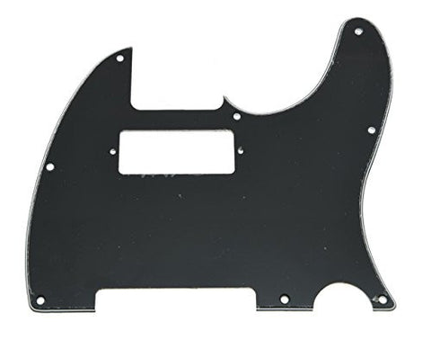 KAISH Black Tele Guitar Pickguard Scratch Plate with Mini Humbucker Hole for Fender Telecaster