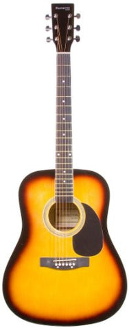 "41"" Inch Full Size Sunburst Handcrafted Steel String Dreadnought Guitar & DirectlyCheap(TM) Translucent Blue Medium Guitar Pick (41GAC-TS)"