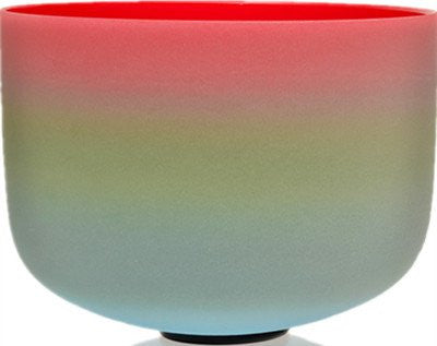 "TOPFUND 10"" Rainbow Colored Frosted F Heart Chakra Quartz Crystal Singing Bowl"