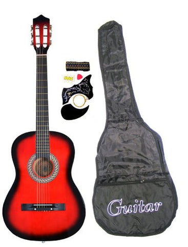 "38"" Red Guitar with Carrying Bag and Accessories"