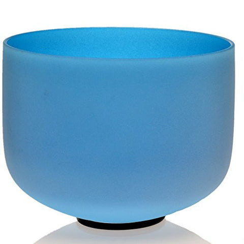 TOPFUND® Blue Color G Throat Chakra Frosted Quartz Crystal Singing Bowl 10 Inch