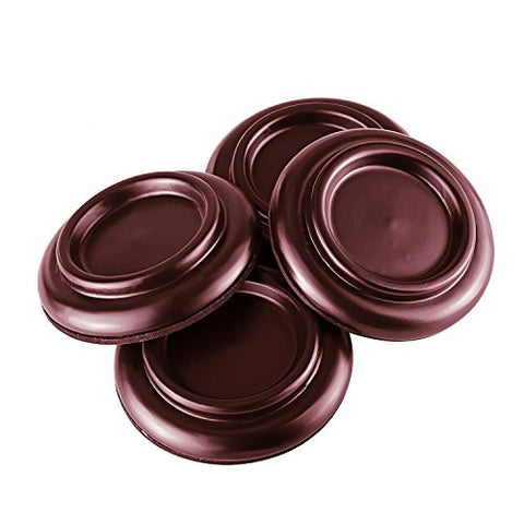 Neewer 4 Pack Solid Wood Piano Caster Cups with Non-Slip & Anti-Noise Foam Pad, Brown