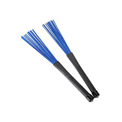 Pixnor Retractable Loop End Drum Brushes for Jazz Drum Stick Blue Pack of 2