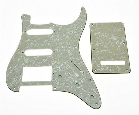 KAISH Strat HSS Pickguard and ST Back plate Tremolo Cover Aged Pearl
