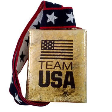 "COWBELL: TEAM USA 4"" Cowbell by MOEN Bells of Norway FUN loud brass-coated bell!"