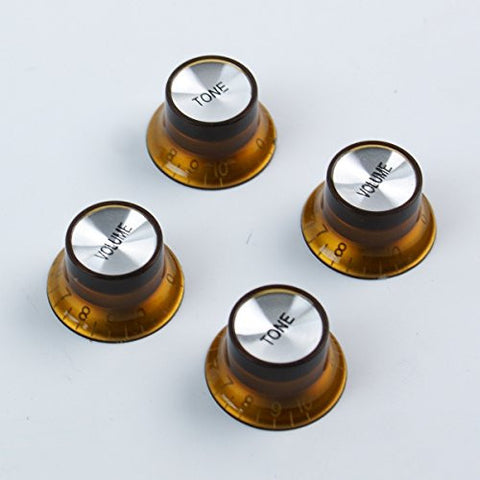 Set of 4 Top Hat Bell Style Guitar Knobs (2x tone 2x volume) Foil-top Amber/dark