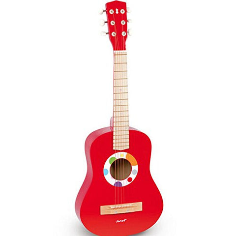 "E Support 21"" Beginners Practice wooden Acoustic Red Guitar w/ Pick 6 String Children Kids"