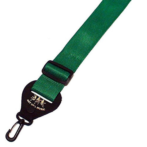 Ant Hill Music Banjo Strap Solid Green Nylon with Leather Ends Made in the USA