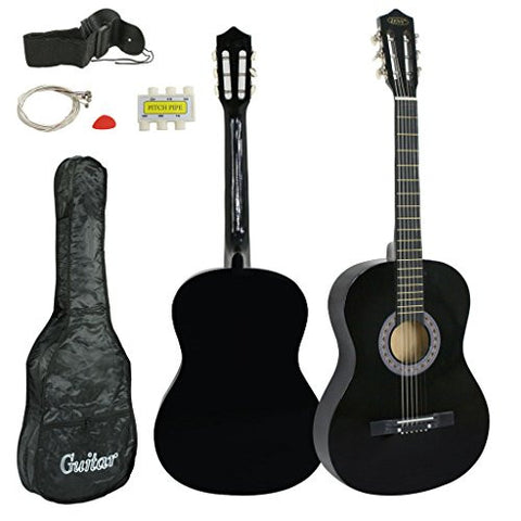 Acoustic Guitar Beginners Practice With Guitar Case Strap Tuner and Pick Black 38 Wood